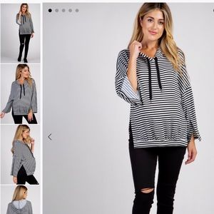 Pinkblush maternity striped hooded top